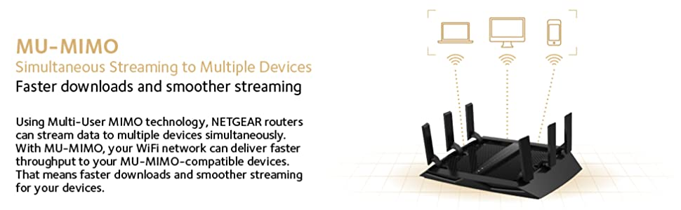NETGEAR Nighthawk X6S Smart Wi-Fi Router (R8000P) - AC4000 Tri-Band  Wireless Speed (up to 4000 Mbps) | Up to 3500 sq ft Coverage & 55 Devices |  4 x 1G