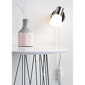brilliant janna wandspot mit zuleitung und schalter e14 1x 3 w 260lm 3000k metall glas. Black Bedroom Furniture Sets. Home Design Ideas
