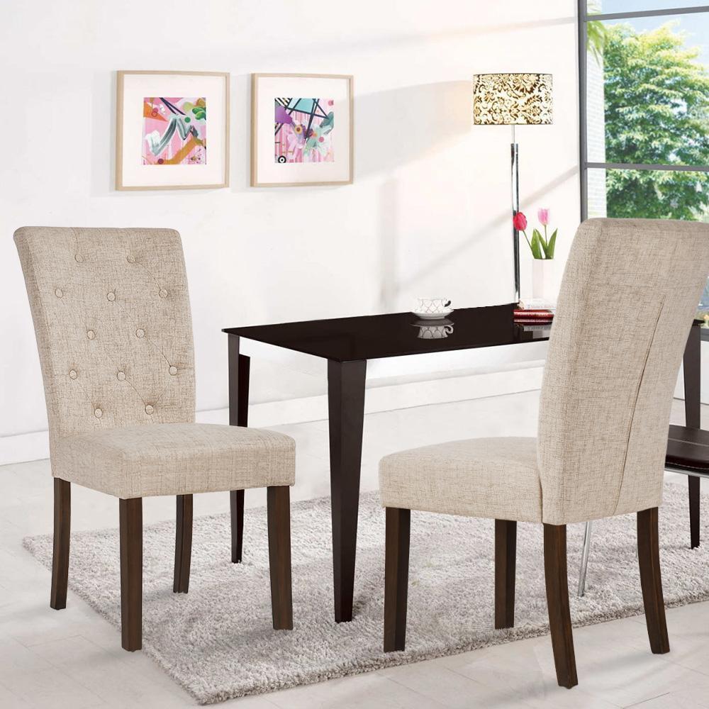 Merax Beige Dining Chair Leisure Padded Chair