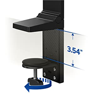 Stand features an integrated clamp for quick and easy installation. Adjustable up to 3.54 inches.