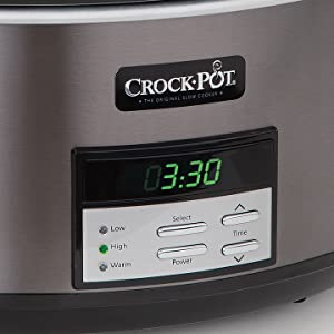 Crock-Pot Black Stainless Collection Programmable Slow Cooker