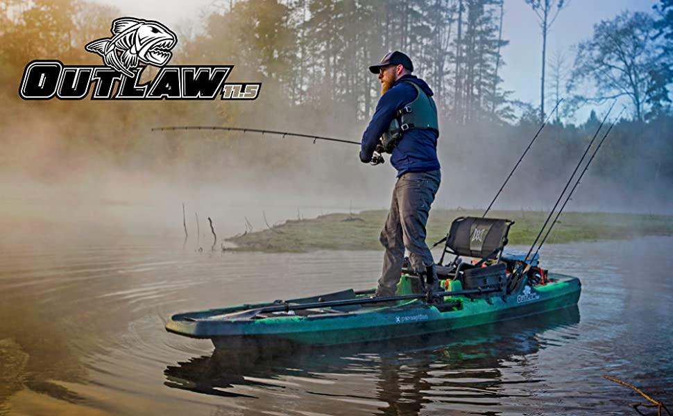 Amazon Com Perception Outlaw 11 5 Sit On Top Fishing Kayak Fold Away Lawn Chair Seat 4 Rod Holders Integrated Tackle Trays 11 6 Dapper Sports Outdoors
