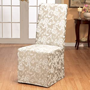 Amazon Com Sure Fit Home Decor Scroll Long Dining Room Chair One Piece Slipcover Relaxed Fit Cotton Polyester Machine Washable Champagne Color Furniture Decor