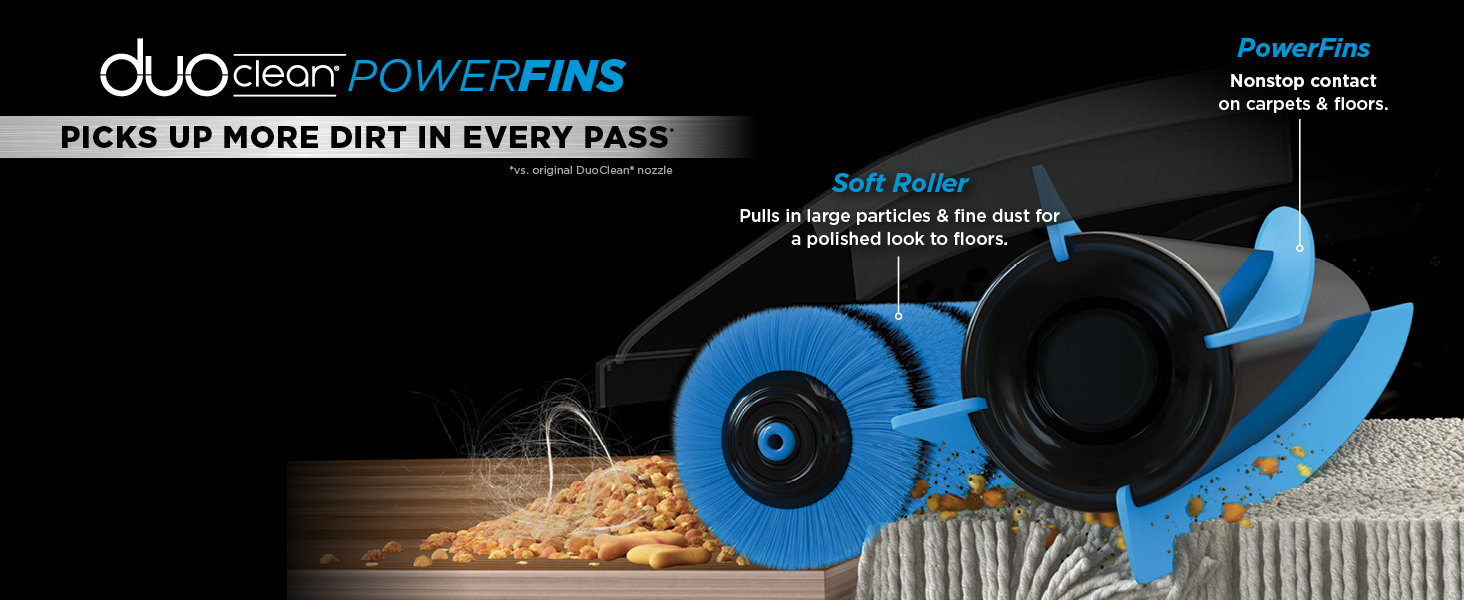 duoclean, powerfins, powerful dirt pickup, soft roller, strong suction, powerful stick vacuum