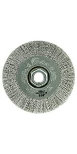 """Weiler 00156 4"""" Narrow Face Crimped Wire Wheel.006 Stainless Steel Fill, 5/8""""-11 UNC Nut"""