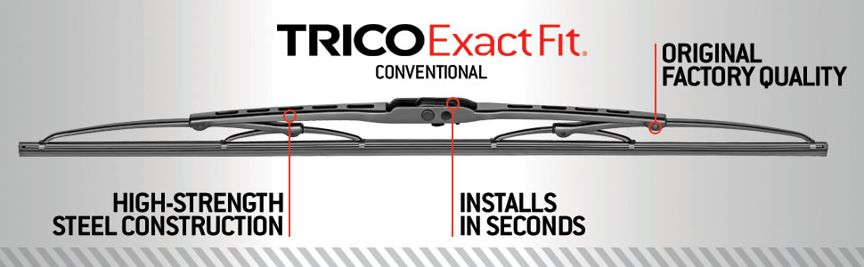 TRICO ExactFit Conventional Wiper blades - OE factory quality with high-strength steel construction