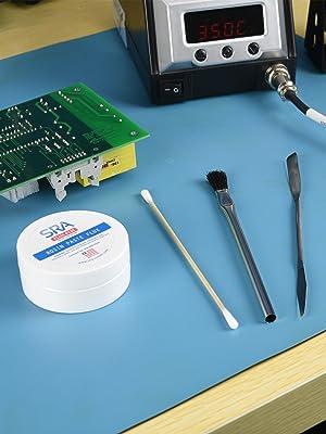 SRA, 135, flux, puck, tools, spatula, brush, aoyue, solder, soldering, station, board, circuit, pcb