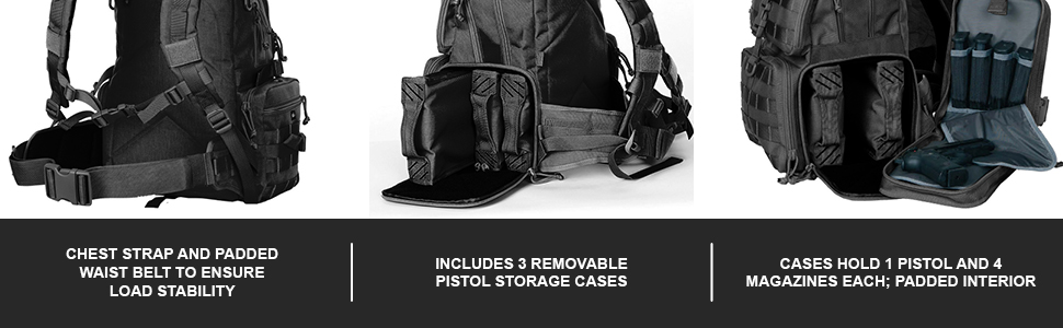 Chest Strap And Pads Waist Belt To Ensure Load Stability | Included 3 Removable Pistol Storage Cases
