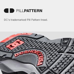 DC, pill pattern, trademark tread