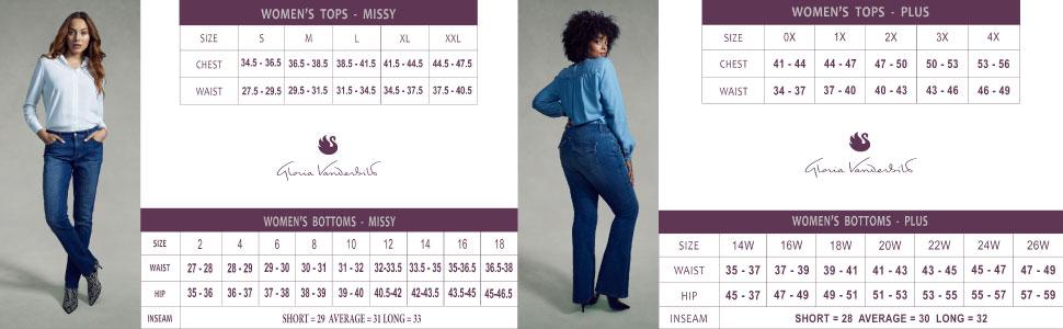 Gloria Vanderbilt Body measurements Missy and plus size charts