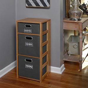 Regency, niche, flip flop, folding, collapsing, bookcase, tote, bin, grey, medium oak, room, storage