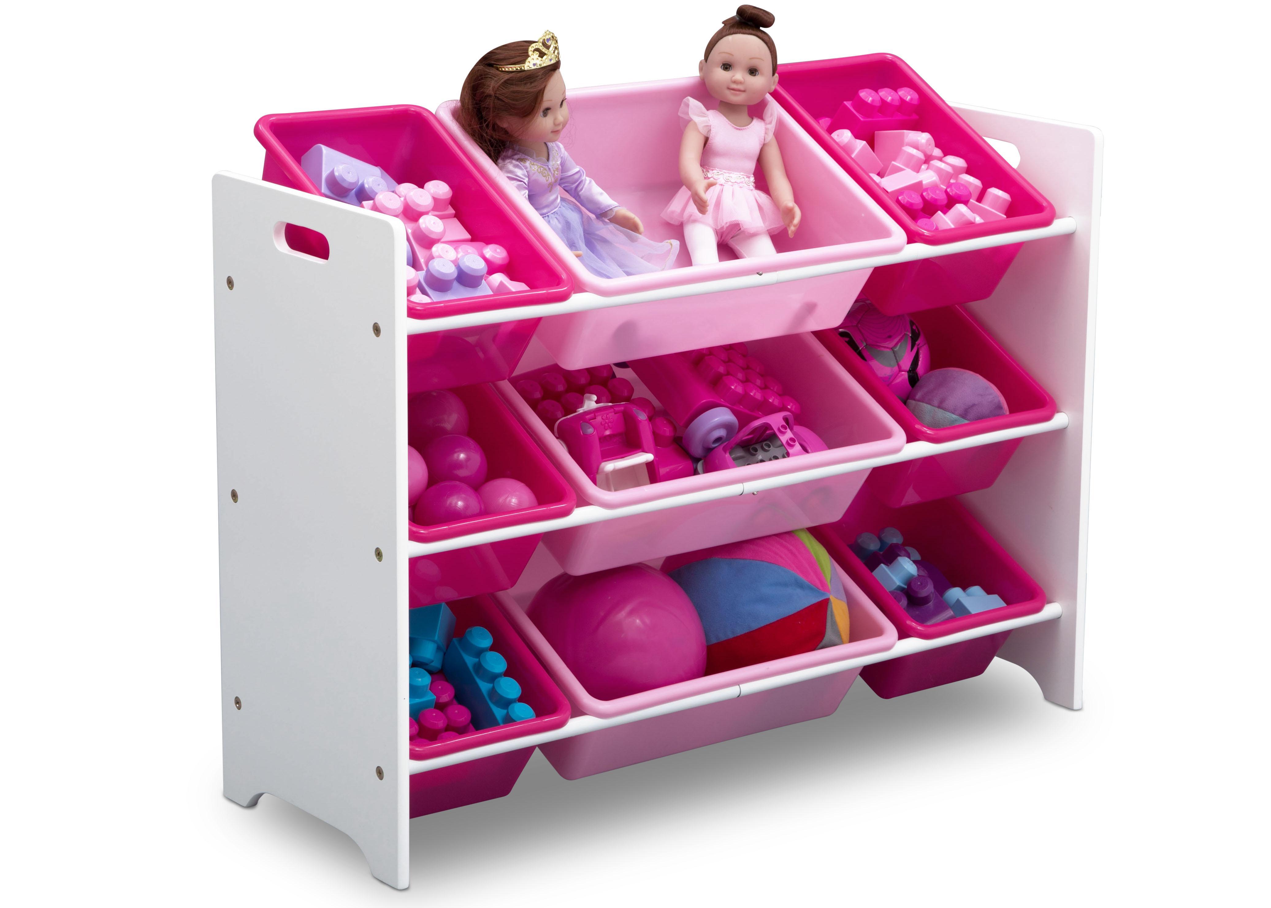 delta children mysize 9 bin plastic toy organizer bianca white baby. Black Bedroom Furniture Sets. Home Design Ideas