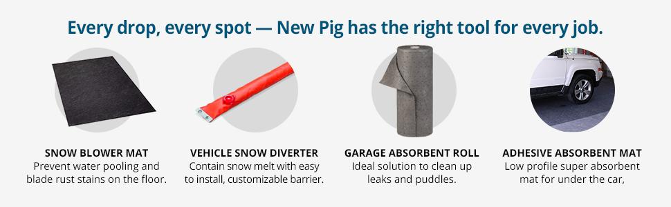 New Pig Vehicle Snow Melt Diverter For Garage 45 X 10 Water Dam