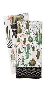 Cactus and green plants printed on a dishtowel set.