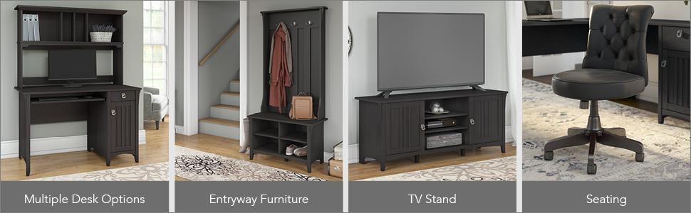 bush furniture,salinas,vintage black,casual