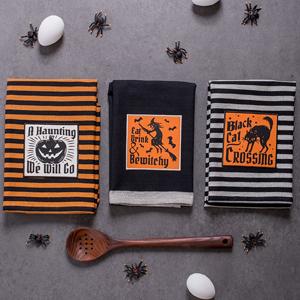 dishtowels, kitchen, baking, cooking, hanging, embroidered, black cat, pumpkin, orange, black