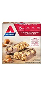 chocolate caramel protein bar atkins meal bar low carb keto friendly gluten free fiber