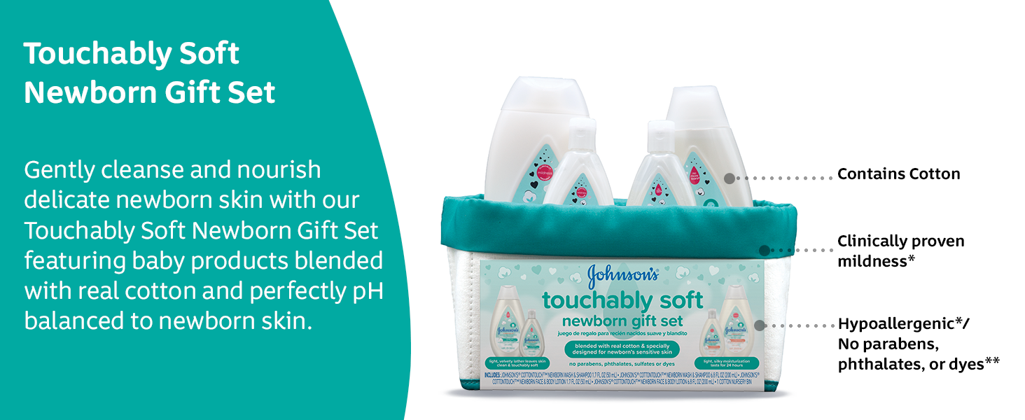 Gently cleanse and nourish delicate newborn skin with our Touchably Soft Newborn Gift Set