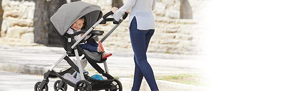 Baby and stroller