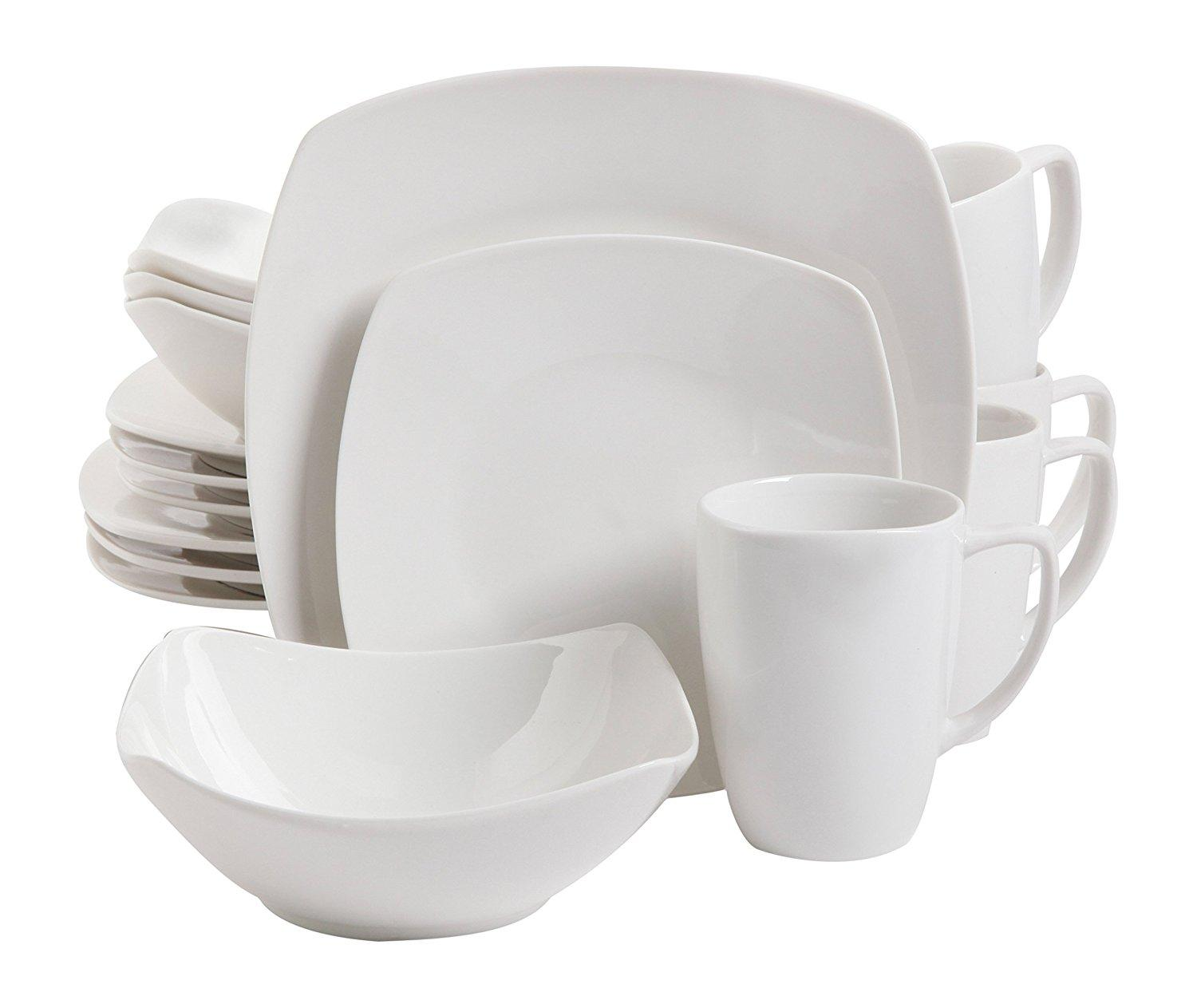 Gibson Home Zen Buffetware 16 pc Porcelain Dinnerware Set  sc 1 st  Amazon.com : black square plate set - pezcame.com