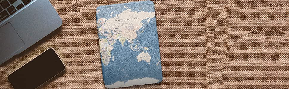 Capa Kindle 10a. Geração WB Ultra Leve Mapa Mundi
