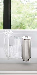 山崎実業 マグネット グラス & ボトルホルダー タワー ホワイト 5136