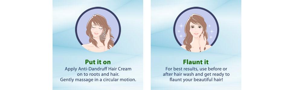 beatiful hair; strong hair root; usage haircream; apply hair cream