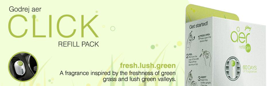 aer click refill pack fresh lush green no spill proof car ac vent air freshener