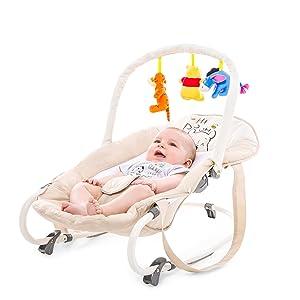 Sicherheitsgurt und Tragegriffe // ab Geburt bis 9 kg verwendbar // kippsicher und tragbar Animals Beige Hauck // Babywippe Bungee Deluxe // Schaukelfunktion // Spielbogen // verstellbarer R/ückenlehne