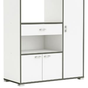 Abitti Mueble Auxiliar para Cocina con Tres Puertas y un Cajon Color Blanco y perfiles Gris 107x90X40cm