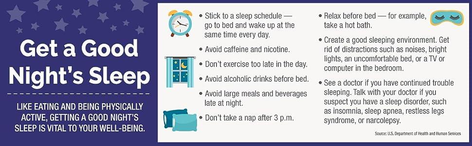 Get a good night sleep infographic, tips to sleep well