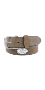 Mens crazy horse leather college concho belt