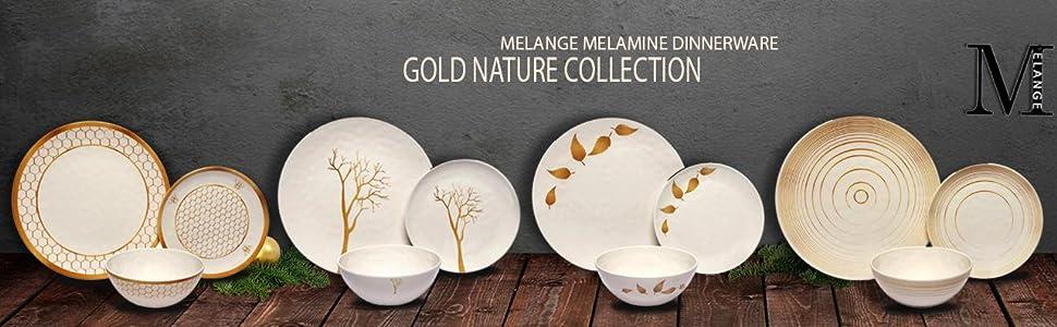Shatter-Proof and Chip-Resistant Melamine Salad Plates 612409792525 Gold Tree Collection Melange 36-Piece 100/% Melamine Salad Plate Set