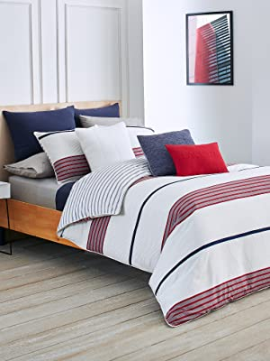 lacoste milady red white gray comforter duvet cotton bed bedroom guestroom sham pillowcase sheet