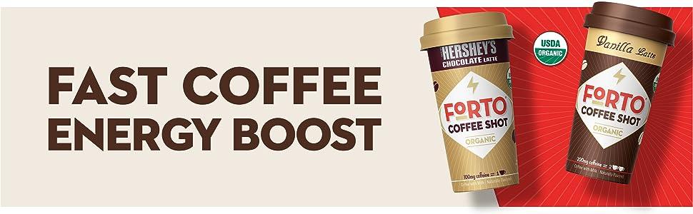Forto coffee shot drink organic on the go chocolate latte hershey vanilla caffeine energy espresso