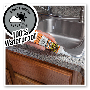 Gorilla clear silicone sealant caulk caulking white tube cartridge squeeze kitchen bath bathroom