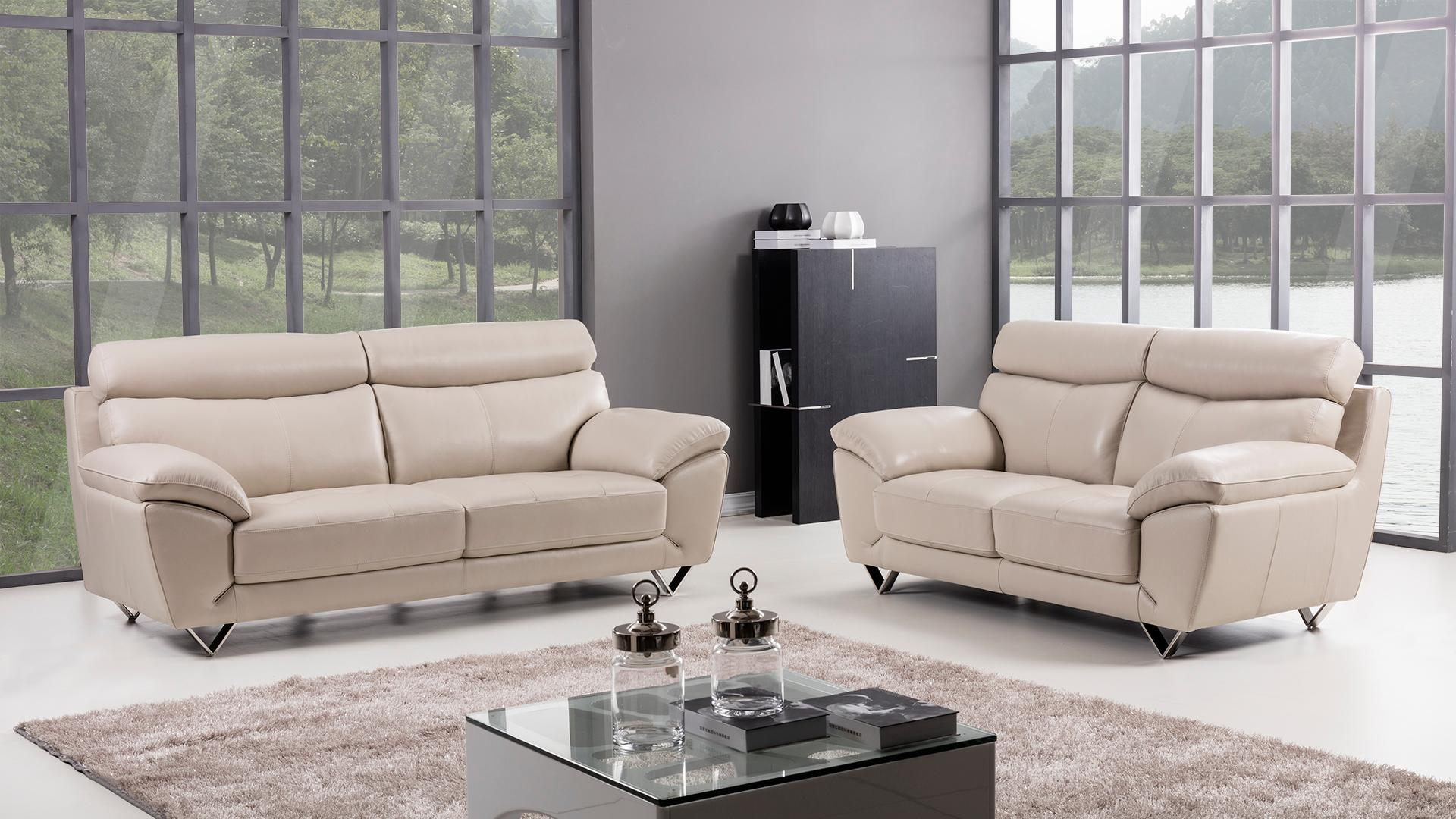 American Eagle Furniture 2 Piece Valencia Collection Complete Italian Grain Leather