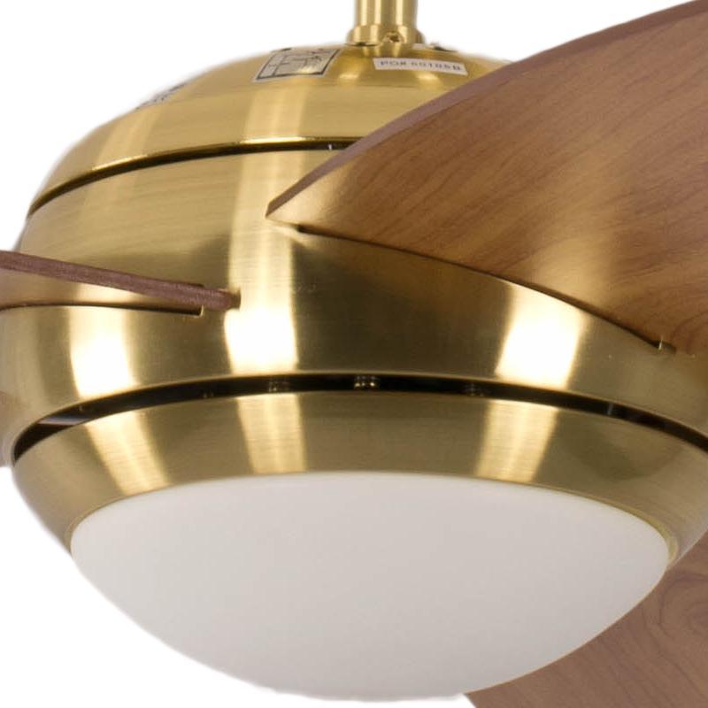 deckenventilator mit beleuchtung und fernbedienung melton geh use messing fl gelfarbe braun. Black Bedroom Furniture Sets. Home Design Ideas