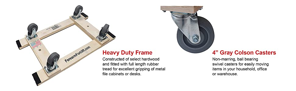 """Forearm Forklift Heavy Duty Moving Dolly with full length rubber tread, 18"""" x 30"""", 4"""" Casters"""