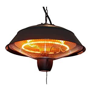 Infrared Outdoor Ceiling Electric Patio Heater, Hammered Brown