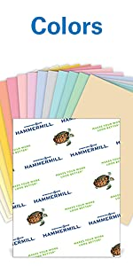 Hammermill 15 Assorted Color 20 lb letter size paper, 500 sheets, 30% recycled, Made in the USA.