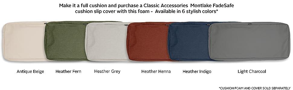 Classic Accessories Rectangular Patio Bench Cushion Foam