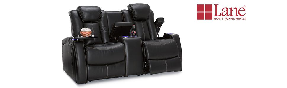 lane omega black home theater loveseat - Black Leather Loveseat