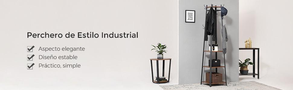 VASAGLE Perchero de Estilo Industrial, Perchero de Pie con 3 Estantes, en Forma de Escalera con Ganchos y Barra, Marco de Metal LCR80X