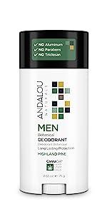 mens deodorant natural botanical highland pine scent natural