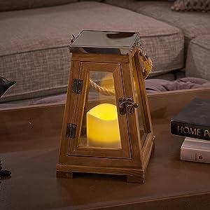 "Newport LED Lantern in Natural Wood 15/"""
