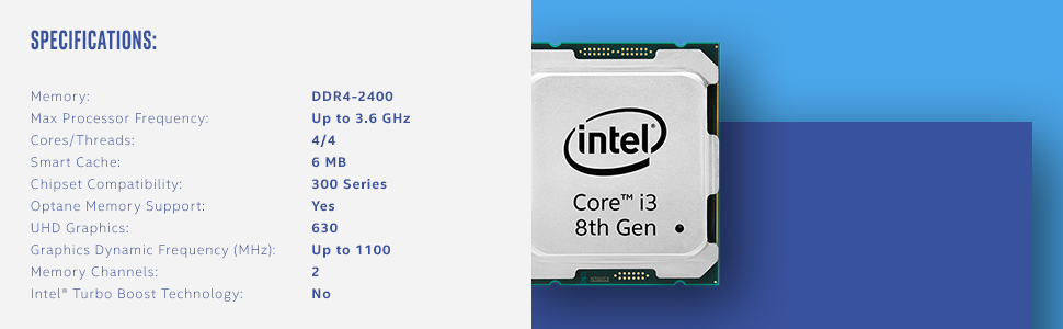 8th gen Intel Core i3-8100 processor BX80684I38100