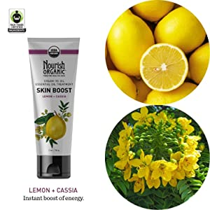 Nourish Organic, Skin Boost, Lemon + Cassia, 2 oz(pack of 1) Magnolia Orchid  3-in-1 Silk Mask (5 pieces)