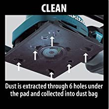 clean dust extracted through six holes under pad collected into bag attachment suction