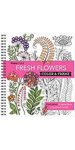 flowers floral adult coloring book teen grown up seniors activity book